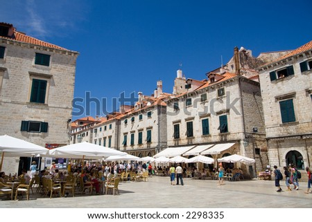 The Luza is the main city square in the Croat city of Dubrovnik. Editorial use only. - stock photo
