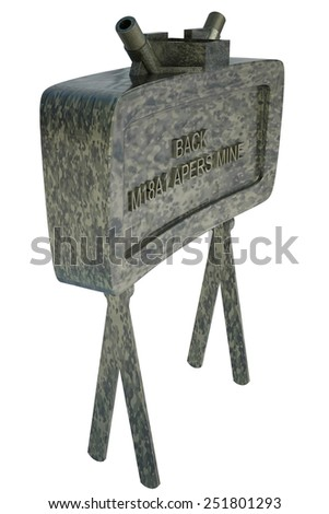 The M18A1 Claymore is a directional anti-personnel mine used by the U.S. military. Isolated on white background. 3d - stock photo