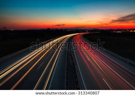 The M0 motorway, Budapest / Hungary at night - stock photo