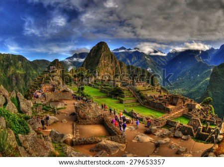 The Machu Picchu in HDR - amazing magical special picture  - stock photo