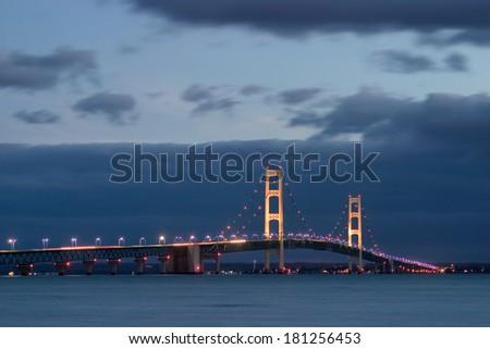 The Mackinaw Bridge, Between Michigan's Upper And Lower Peninsulas At Night - stock photo