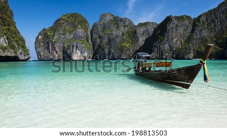 The magical Maya Bay. Ko Phi Phi Leh. Krabi, Thailand - stock photo