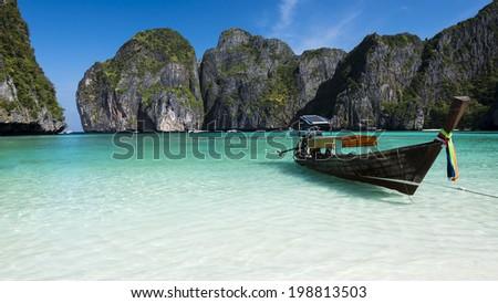 The magical Maya Bay. Ko Phi Phi Leh. Krabi, Thailand - stock photo