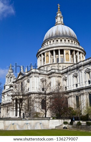 The magnificent St. Paul's Cathedral in London. - stock photo