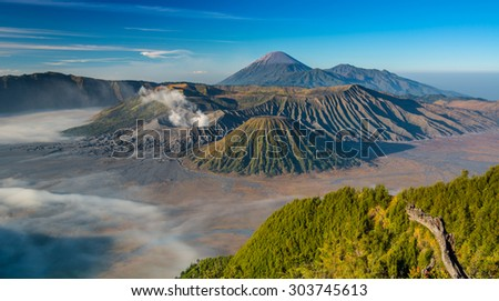 The magnificent view of Mt. Bromo located in Bromo Tengger Semeru National Park, East Java, Indonesia. - stock photo