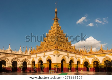 The Mahamuni Buddha Temple, an important buddhist pilgrimage site in Mandalay, Myanmar - stock photo