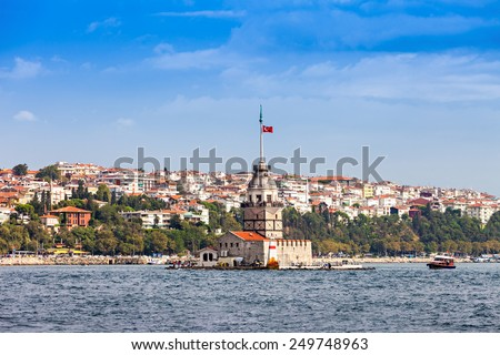 The Maiden's Tower (Kiz Kulesi or Leander's Tower) is a tower lying on a small islet located at the Bosphorus strait in Istanbul, Turkey - stock photo