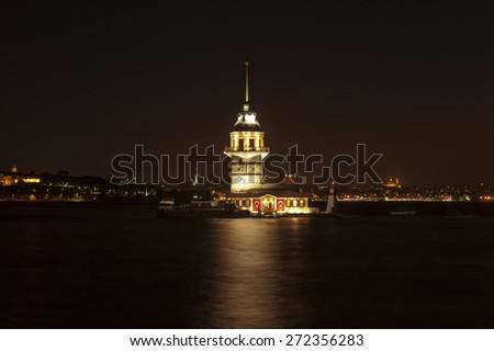 The Maiden's Tower (Turkish: Kiz Kulesi), Istanbul - stock photo
