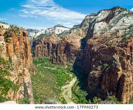 The main canyon of Utah's Zion National Park is viewed looking north from atop Angels Landing. - stock photo