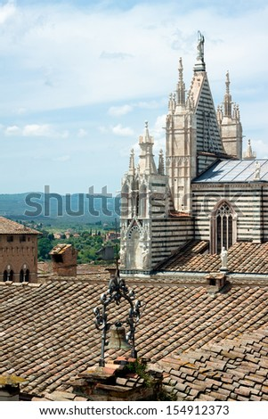 The main church of Siena in summer day  - stock photo