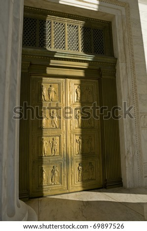 The main doors of the US Supreme Court in Washington, DC. - stock photo