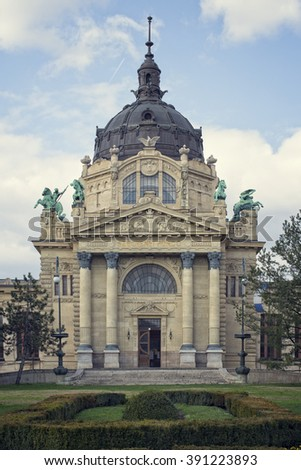 The main entrance of the Szechenyi bath in Budapest - stock photo