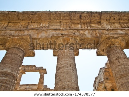 The main features of the site today are the standing remains of three major temples in Doric style, dating from the first half of the 6th century BC - stock photo
