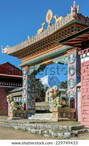 The main gate of the monastery. Festival of Tengboche Monastery Practice and Masked Mani Rimdu Dances to the Khumbu region - Nepal, Himalayas - stock photo