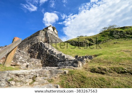 The main pyramid El Castillo at Xunantunich archaeological site of Mayan civilization in Western Belize - stock photo