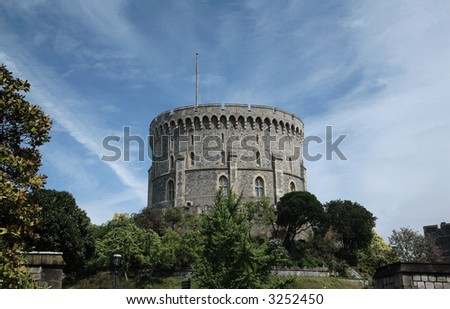 the main tower of Windsor Castle England 800 years old - stock photo