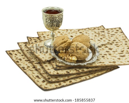 The main traditional Passover meal - stock photo