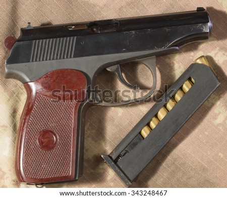 The Makarov pistol ammunition. Clouse up - stock photo