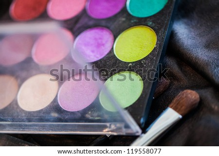 The make up artist's kit with different colours of blush. - stock photo