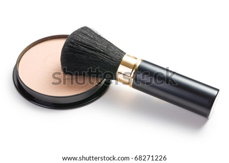the makeup brush and cosmetic powder compact - stock photo