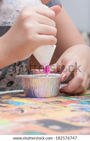 the making of blueberry cheese pie - stock photo