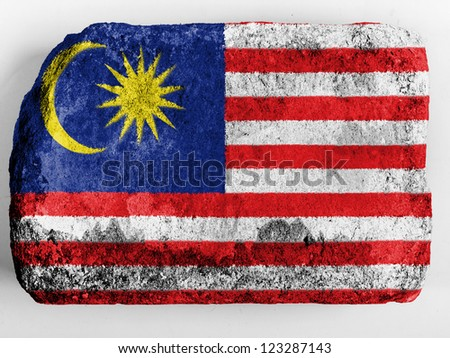 The Malaysia flag  painted on brick - stock photo