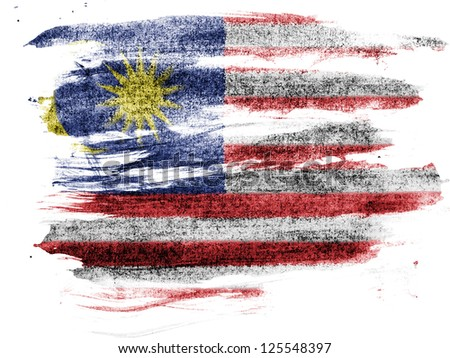 The Malaysia flag  painted on paper with colored charcoals - stock photo