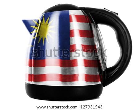 The Malaysia flag  painted on shiny metallic kettle - stock photo