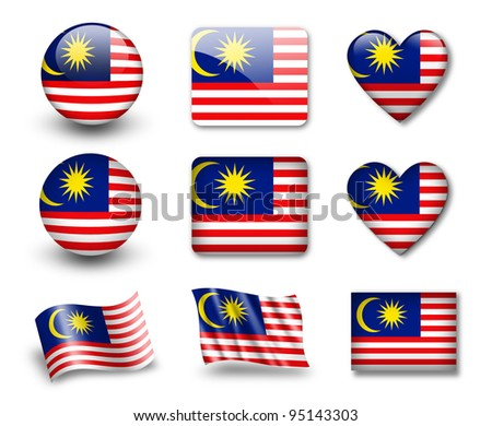The Malaysia flag - set of icons and flags. glossy and matte on a white background. - stock photo