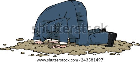 The man buried his head in the sand raster version - stock photo