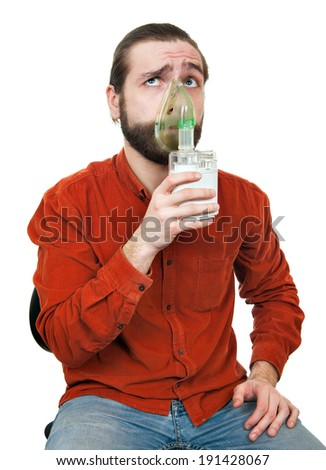 the man doing inhalation - stock photo
