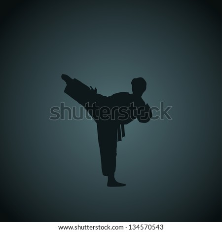 The man engaged in the karate on dark a blue background. - stock photo