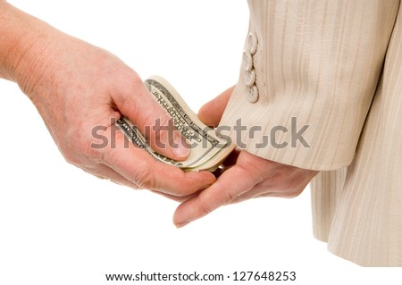 the man gently takes a bribe isolated on white background - stock photo
