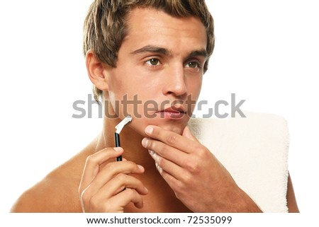 The man has a shave - stock photo