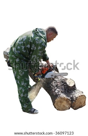 The man in the forest chainsaw sawing logs - stock photo