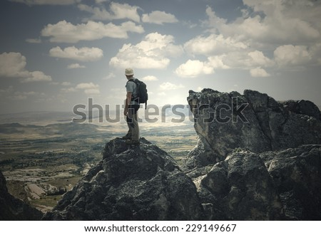 the man on the High Peak - stock photo