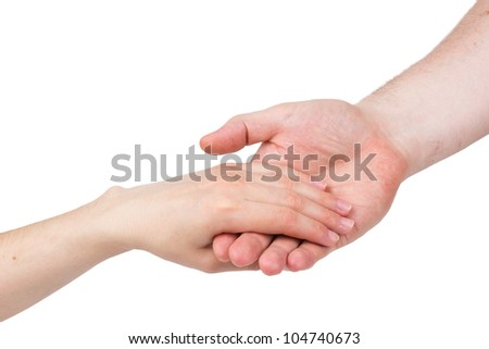 The man's hand carefully holds female isolated on a white background - stock photo