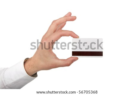 The man's hand holds a card is isolated on white a background - stock photo