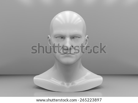 The man's head close-up on a gray background - stock photo