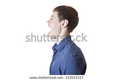 The man says, on a white background. - stock photo