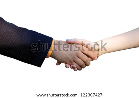 The man shakes a hand to the girl on a white background - stock photo