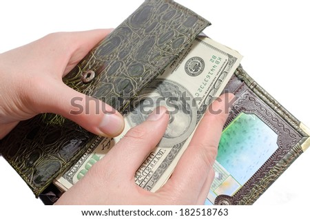 the man with a purse close up - stock photo