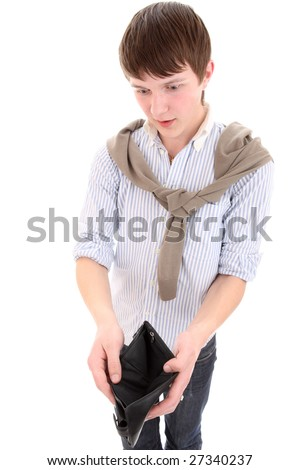 The man with an empty wallet in hands - stock photo