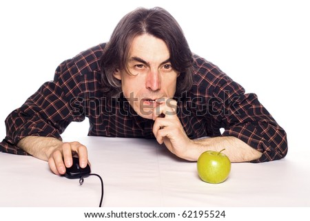 The man with the computer mouse was visited with idea. - stock photo