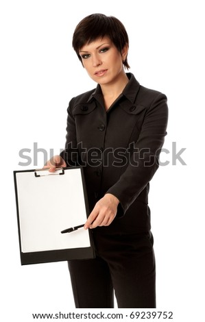 The manager with white blank paper in the hands holding an interview - stock photo