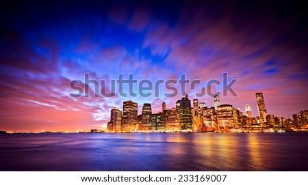 The Manhattan skyline at twilight. - stock photo