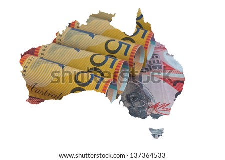 the map of Australia with the currency as the background - stock photo