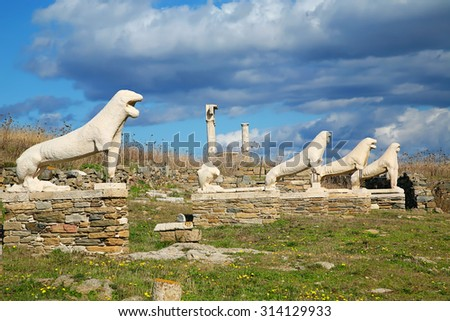 The marble lions on the Cascacade of Lions on  Delos are replicas of the originals that are in the museum on the island of Delos, Greece. - stock photo