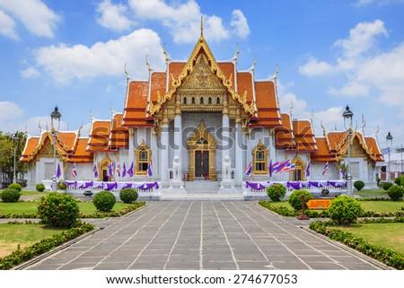 The Marble Temple or Wat Benchamabophit at Bangkok Thailand - stock photo