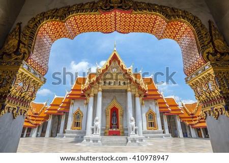 The Marble Temple or Wat Benchamabophit, Bangkok, Thailand - stock photo
